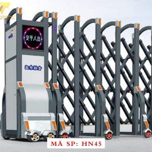 Cổng xếp hợp kim nhôm chạy điện tự động HN45