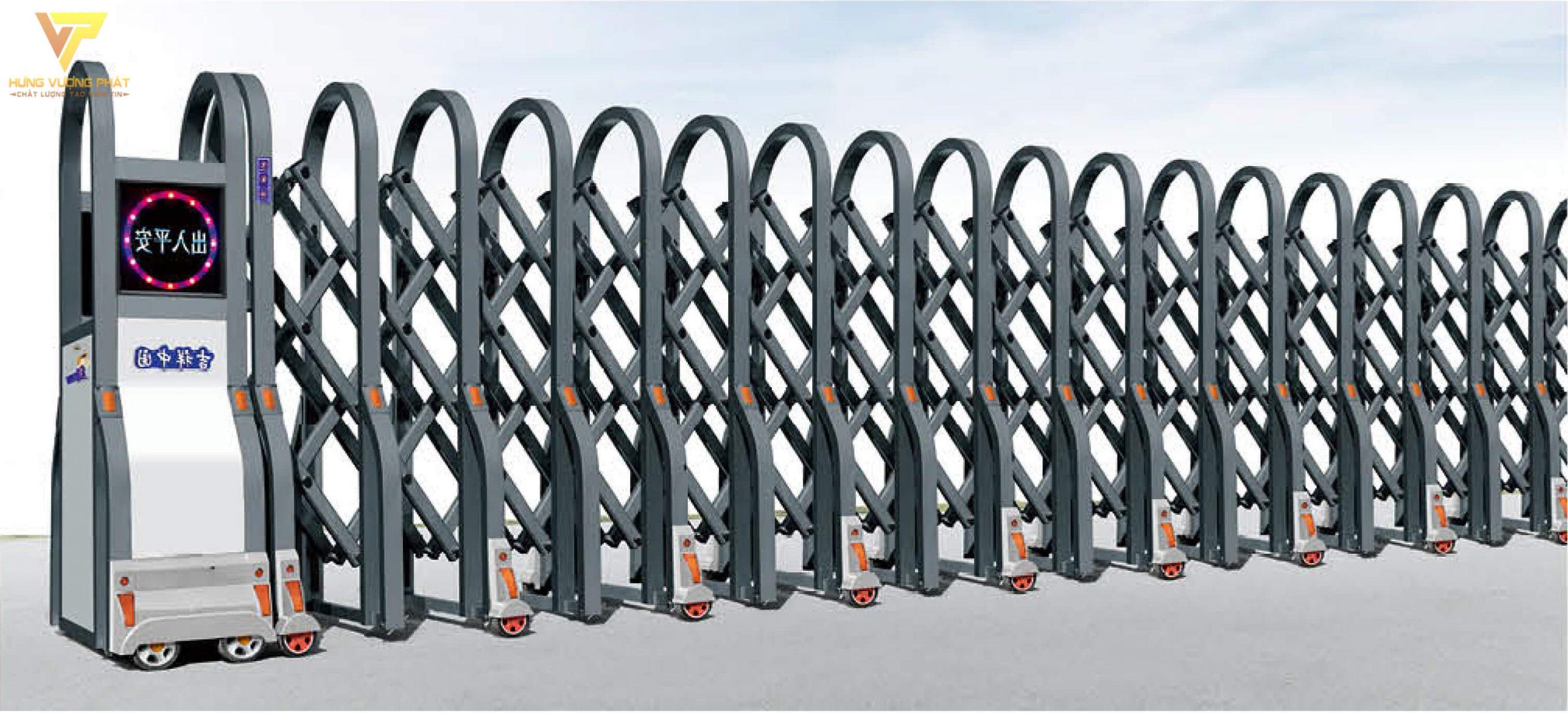 Cổng xếp hợp kim nhôm chạy điện tự động HN46