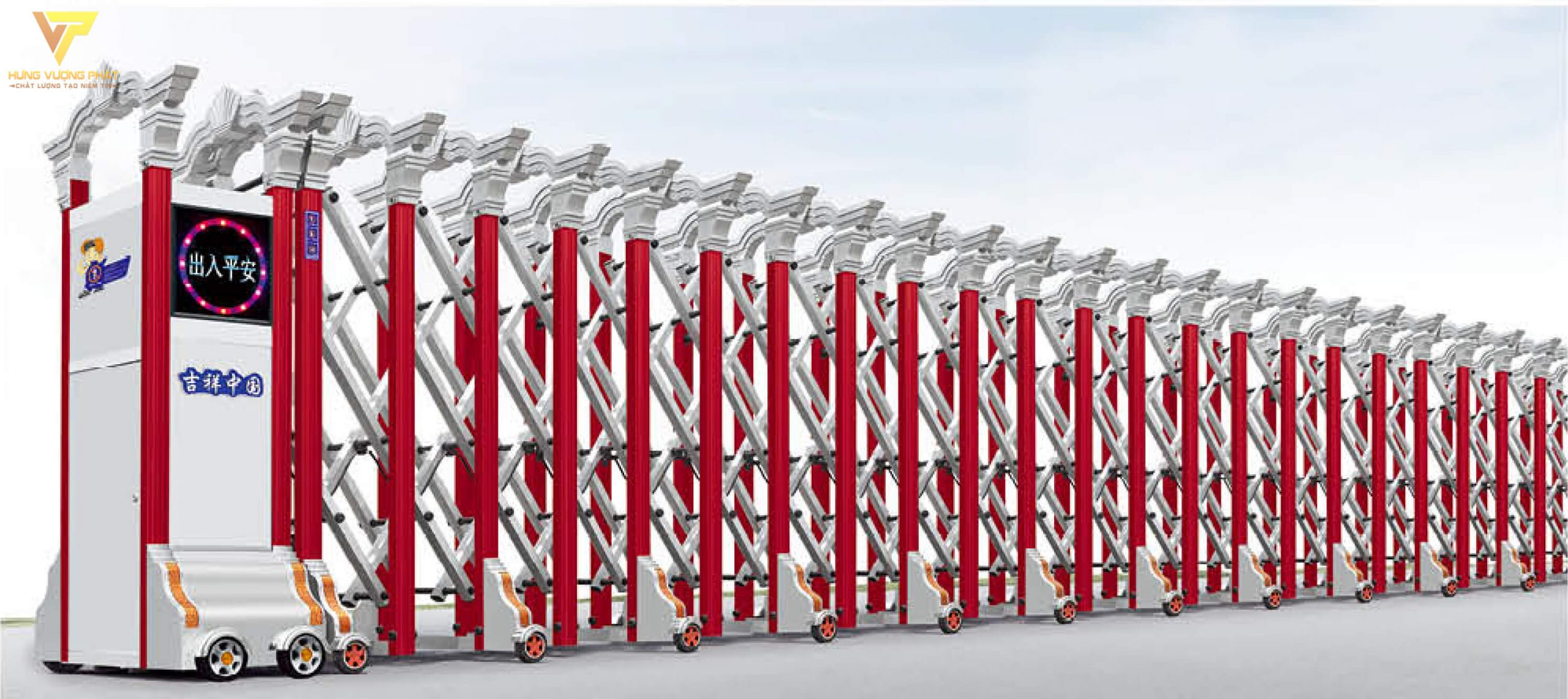 Cổng xếp hợp kim nhôm chạy điện tự động HN47
