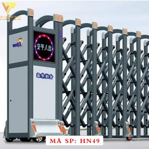 Cổng xếp hợp kim nhôm chạy điện tự động HN49