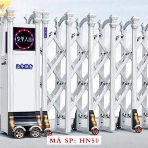 Cổng xếp hợp kim nhôm chạy điện tự động HN50