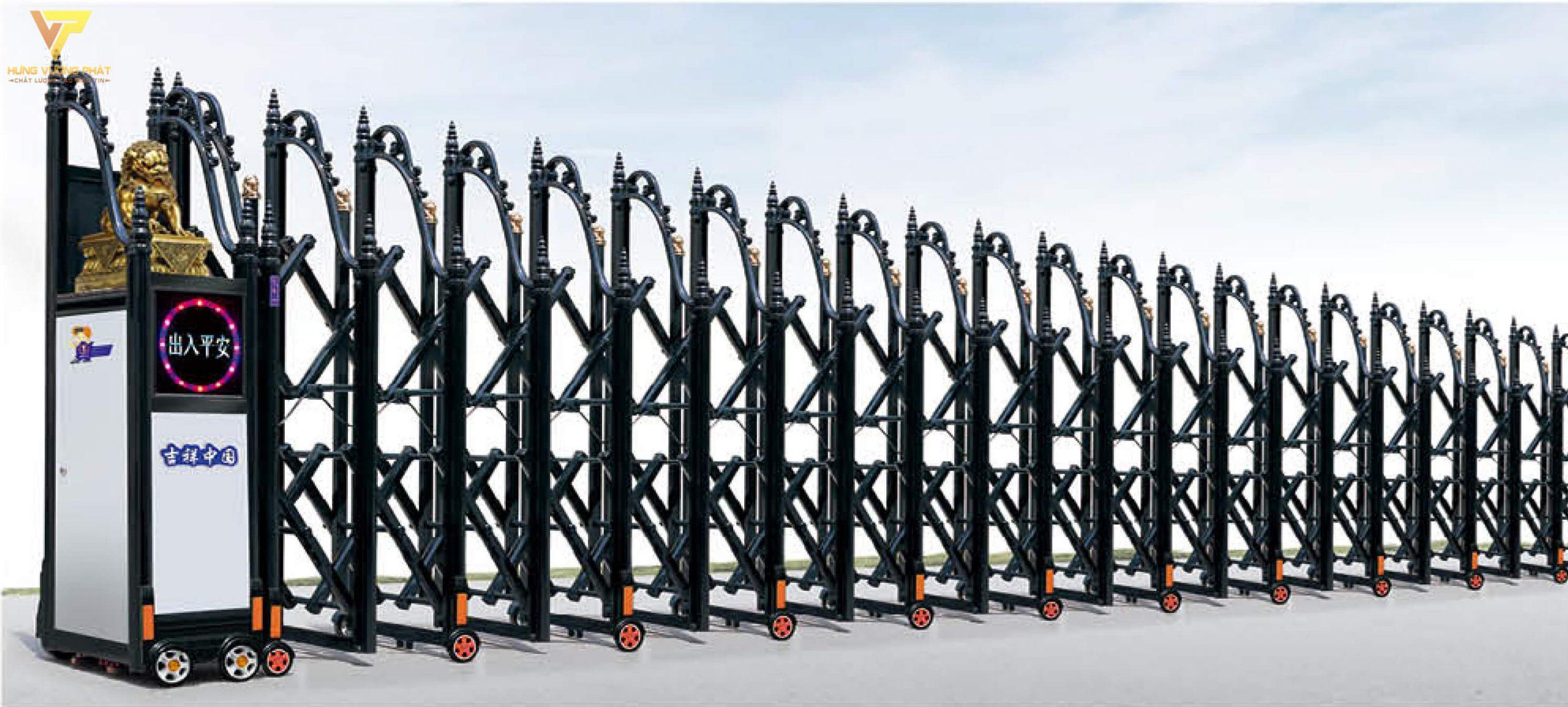 Cổng xếp hợp kim nhôm chạy điện tự động HN51