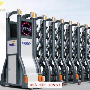 Cổng xếp hợp kim nhôm chạy điện tự động HN53