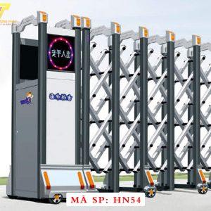 Cổng xếp hợp kim nhôm chạy điện tự động HN54