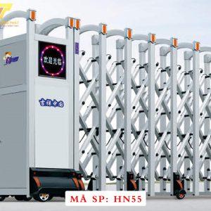 Cổng xếp hợp kim nhôm chạy điện tự động HN55