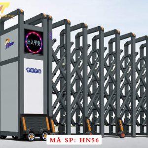 Cổng xếp hợp kim nhôm chạy điện tự động HN56