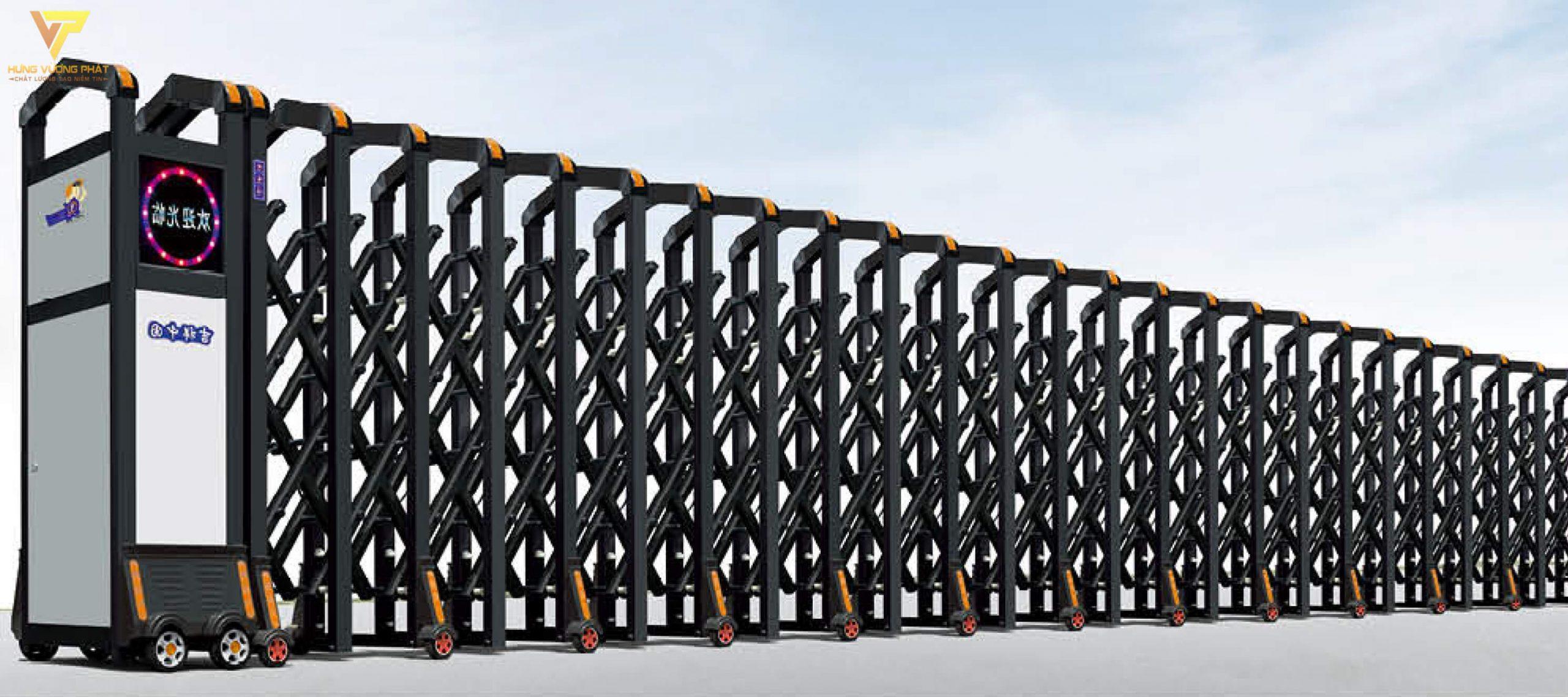 Cổng xếp hợp kim nhôm chạy điện tự động HN57