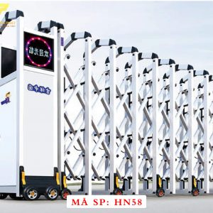 Cổng xếp hợp kim nhôm chạy điện tự động HN58