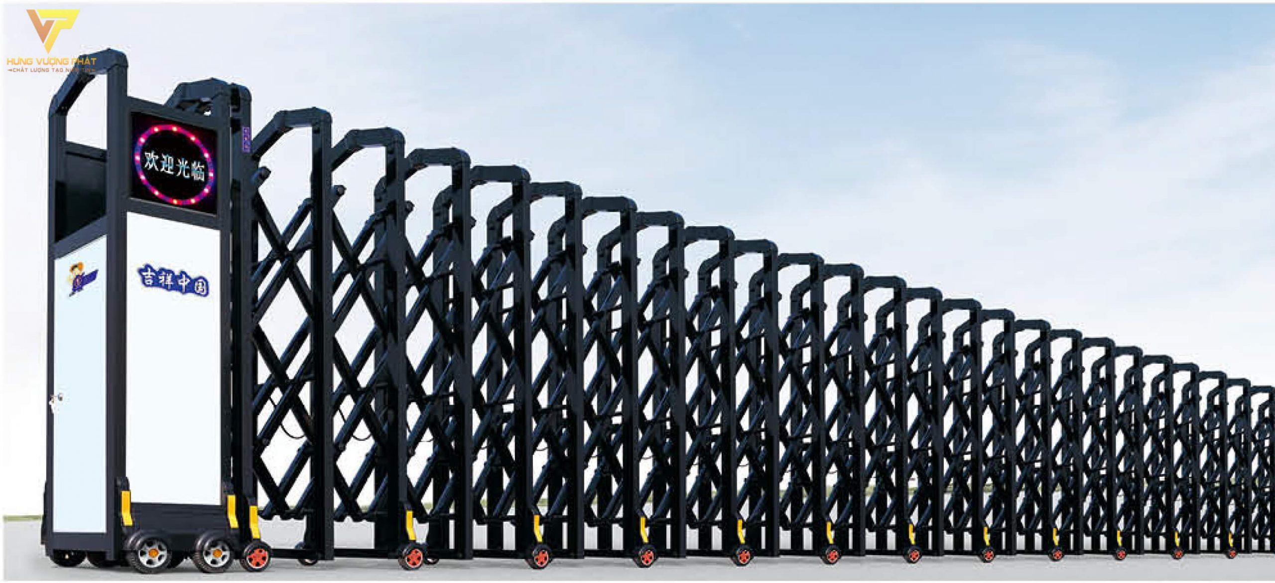 Cổng xếp hợp kim nhôm chạy điện tự động HN59