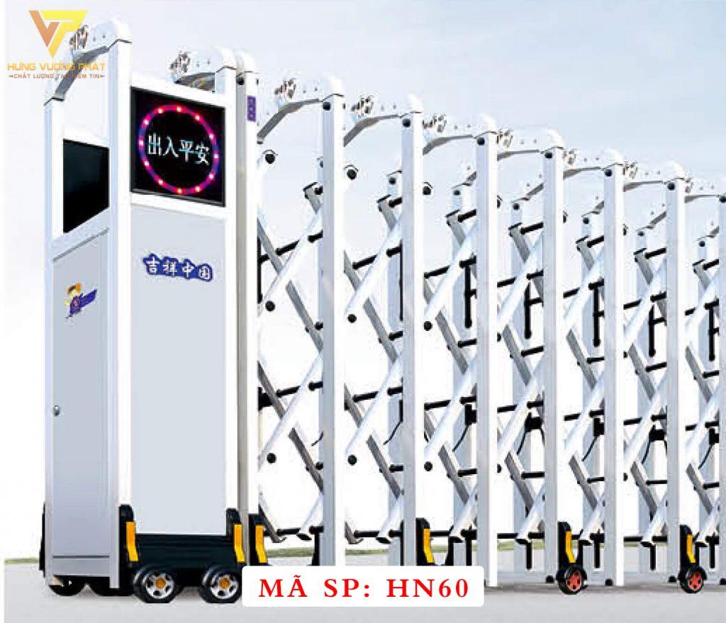 Cổng xếp hợp kim nhôm chạy điện tự động HN60