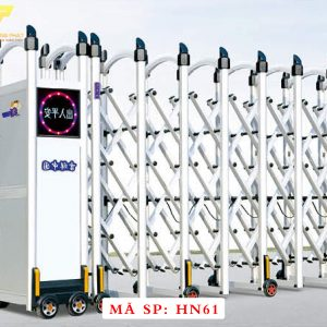 Cổng xếp hợp kim nhôm chạy điện tự động HN61