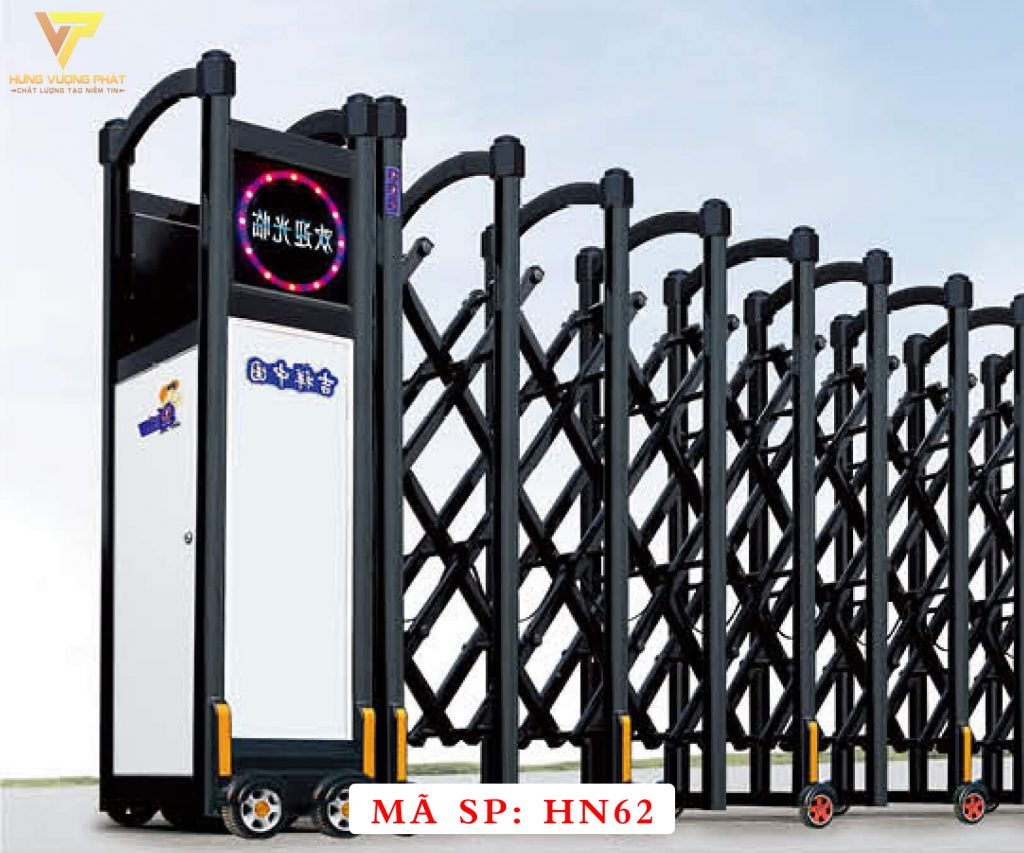 Cổng xếp hợp kim nhôm chạy điện tự động HN62