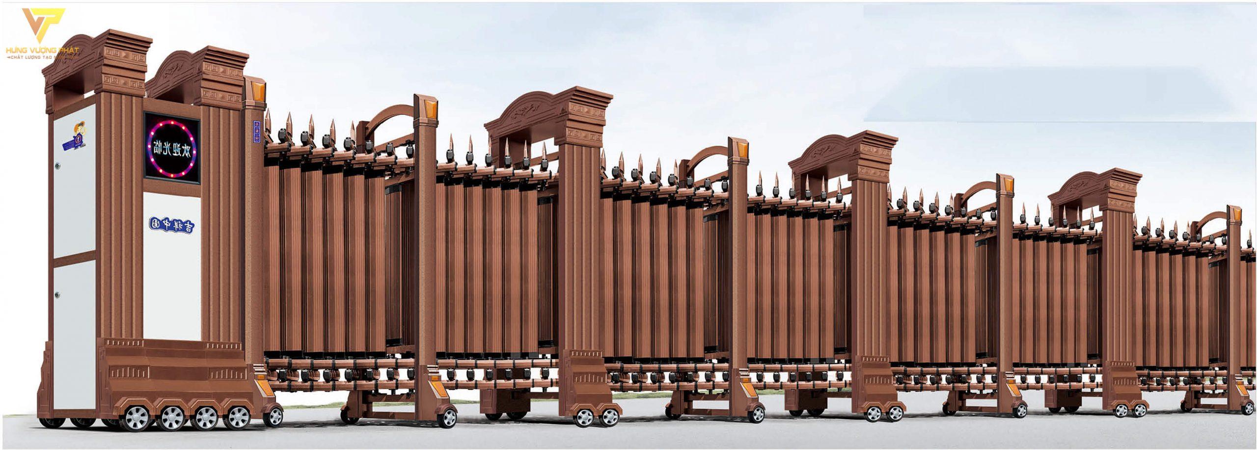 Cổng xếp hợp kim nhôm chạy điện tự động HN01